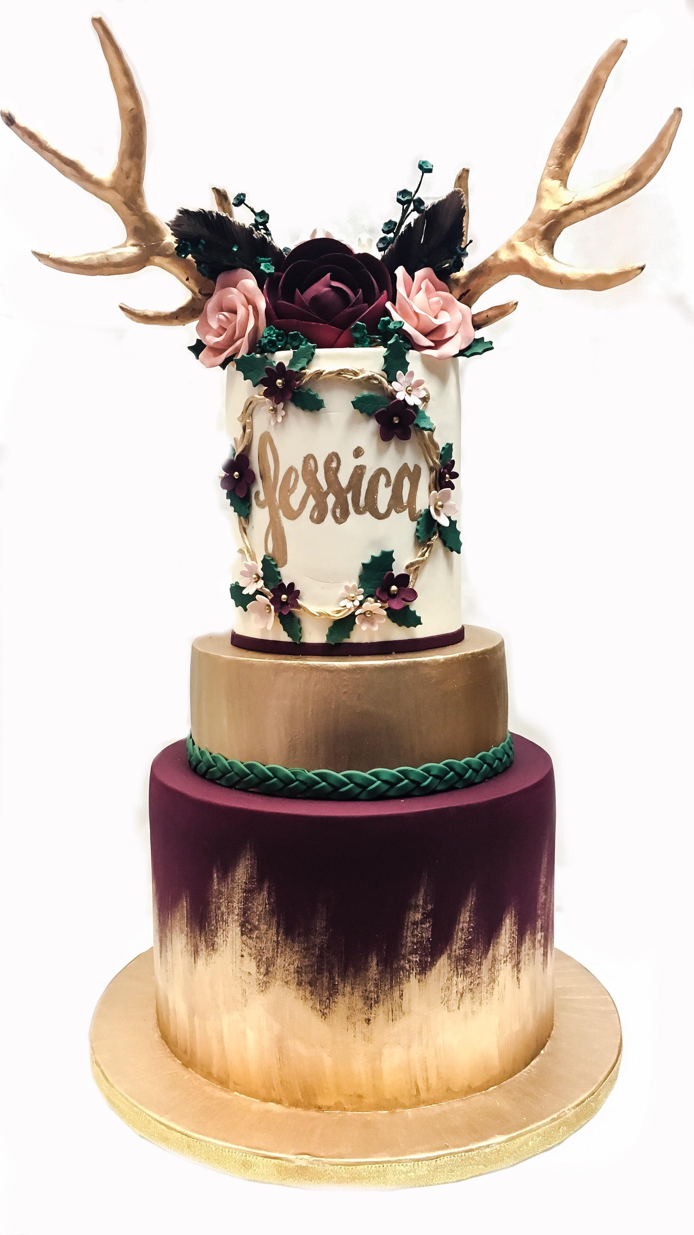 Bohemian themed woodland birthday cake