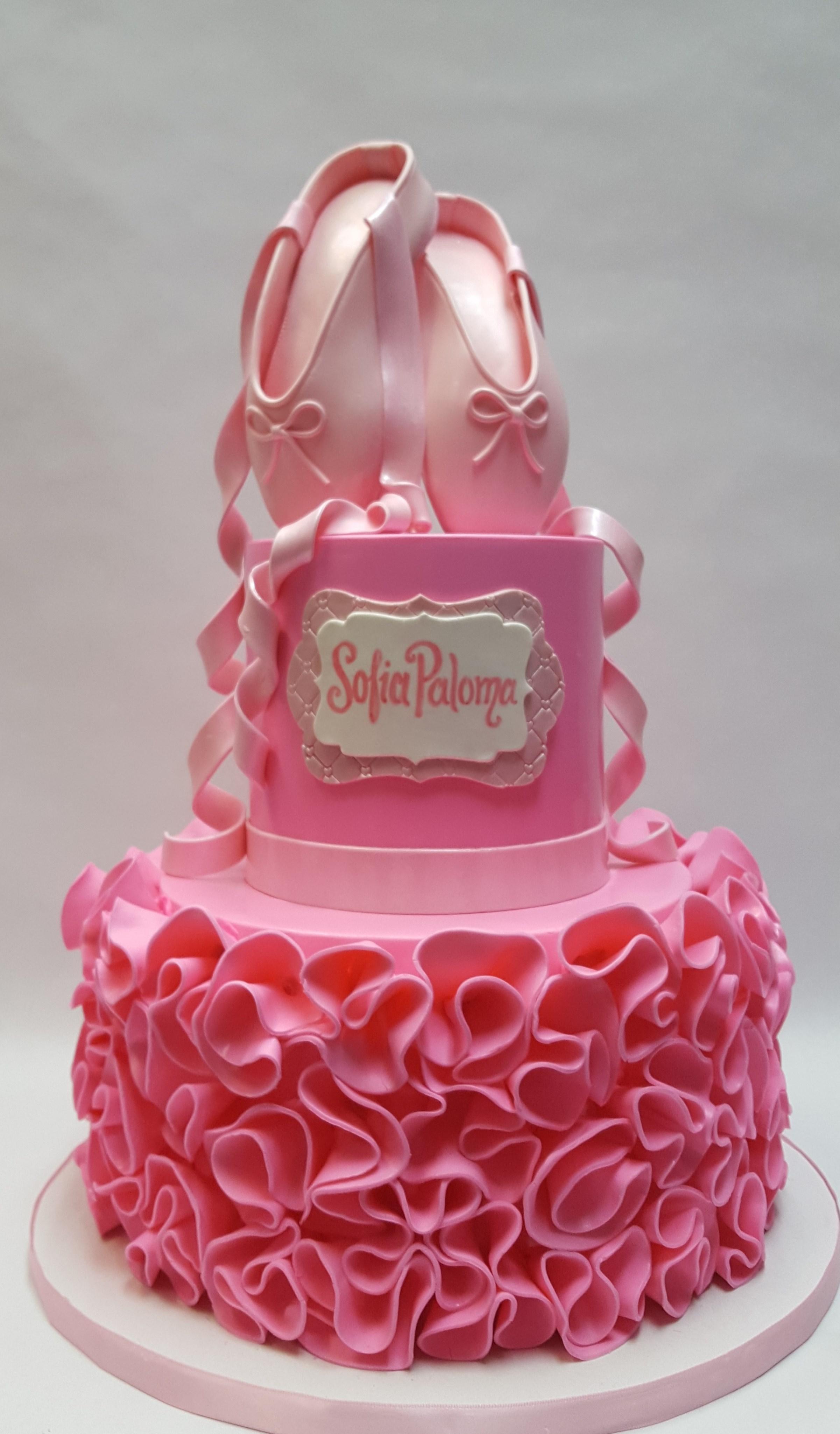 Pink ruffled ballerina birthday cake
