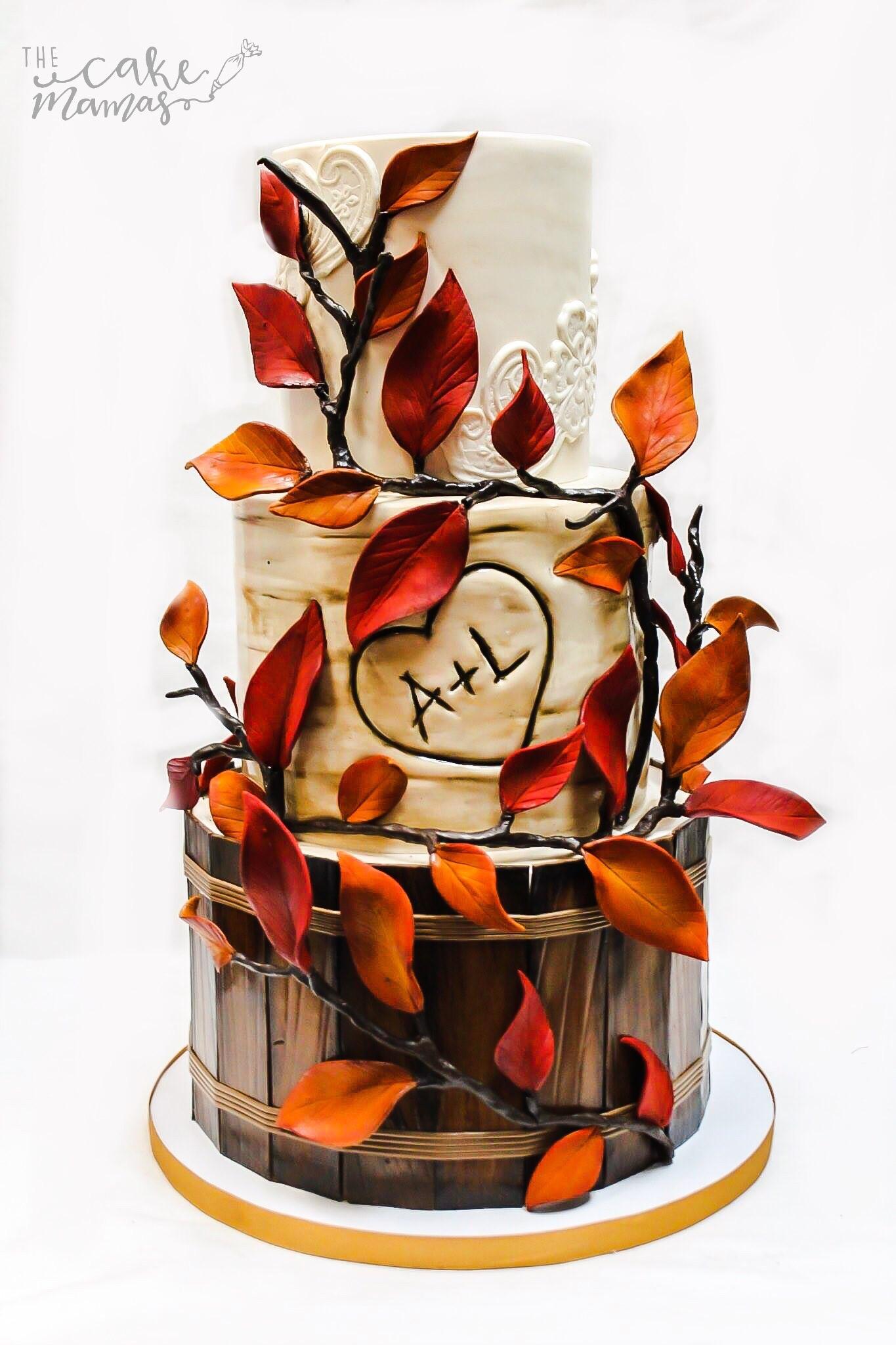 Fall themed bark wedding cake