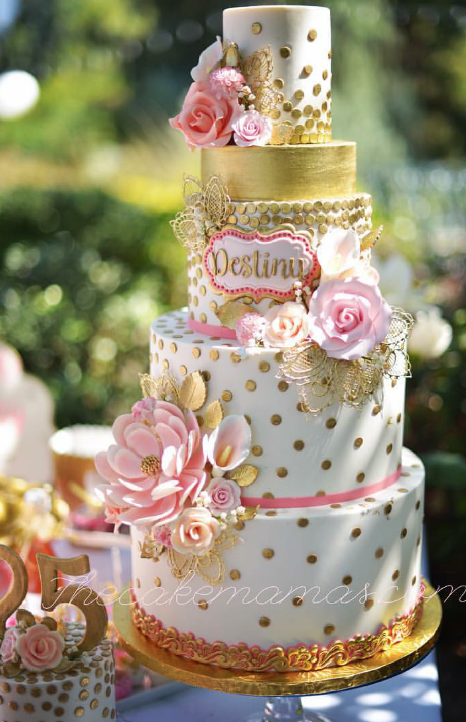 Gold and white polka dot wedding