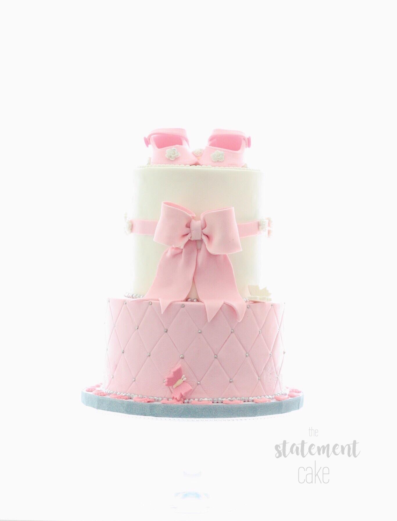 Pink and White baby cake