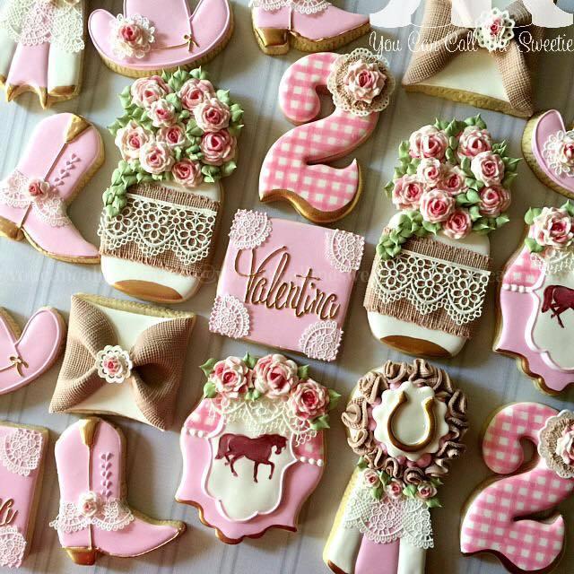 Cowgirl themed birthday girl fondant cookies