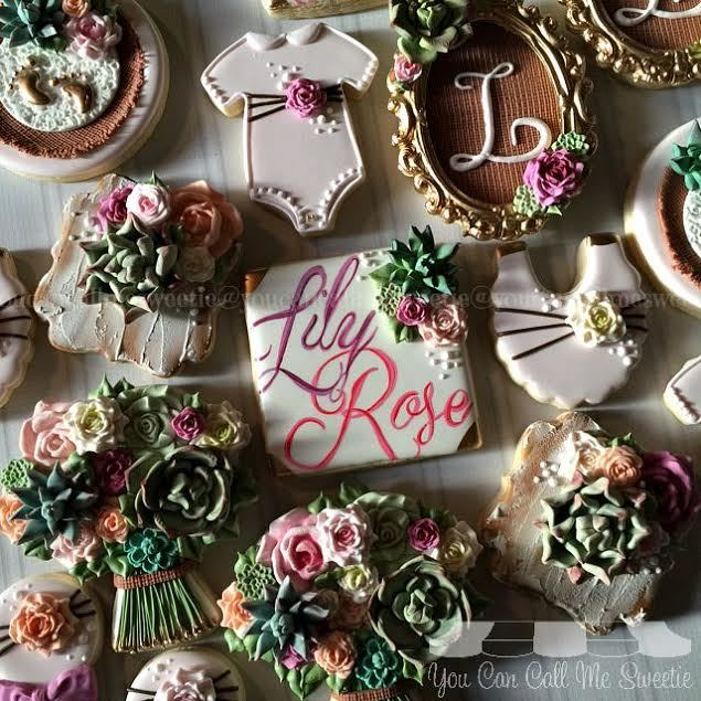 Floral themed baby shower girl fondant cookies