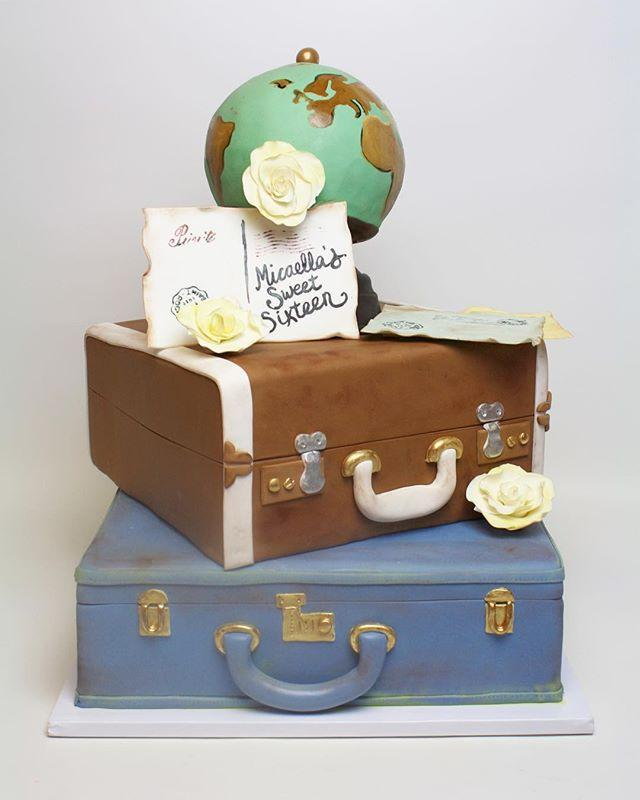 Suitcase and globe traveling birthday cake