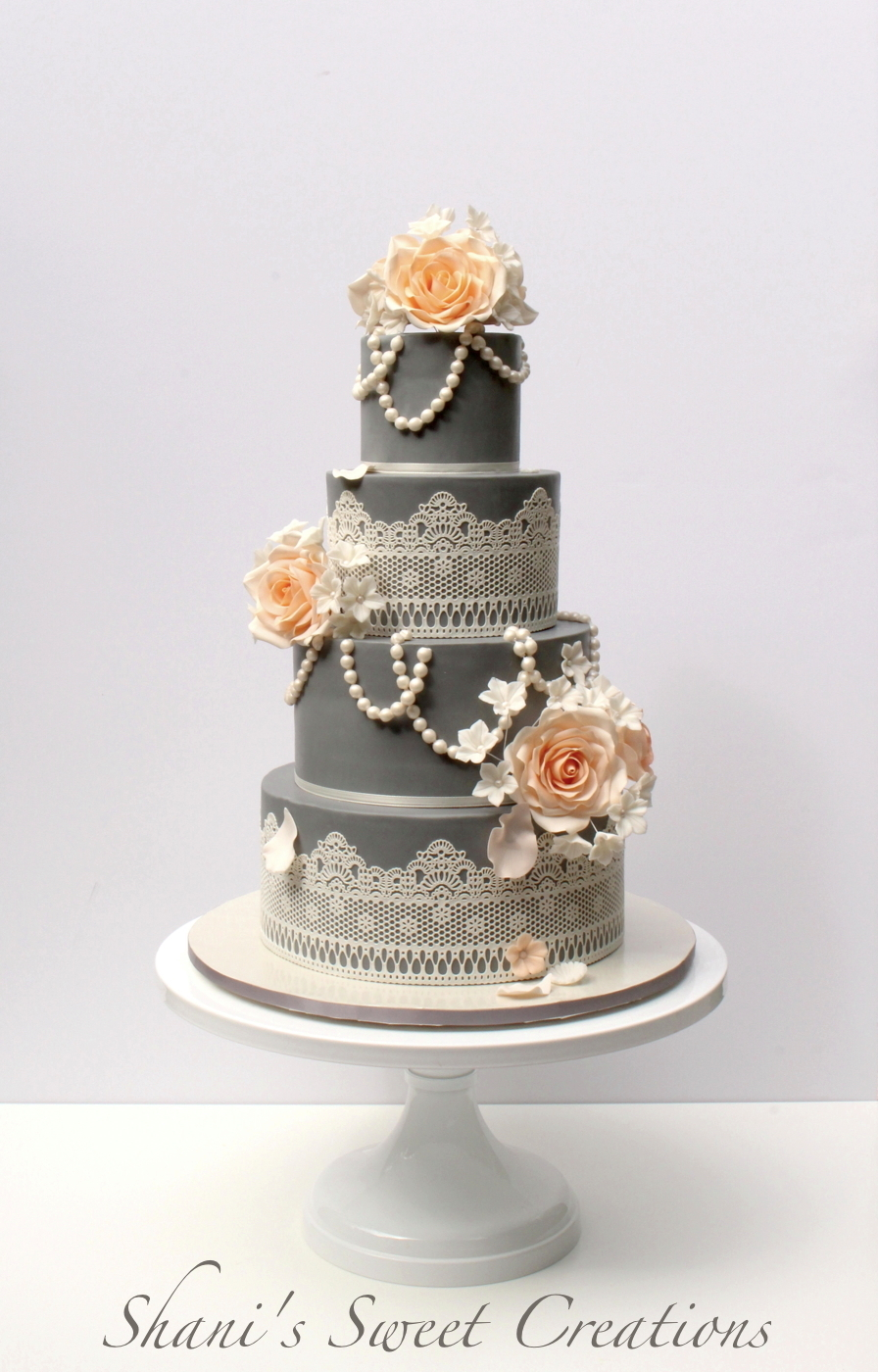Gray with lace wedding