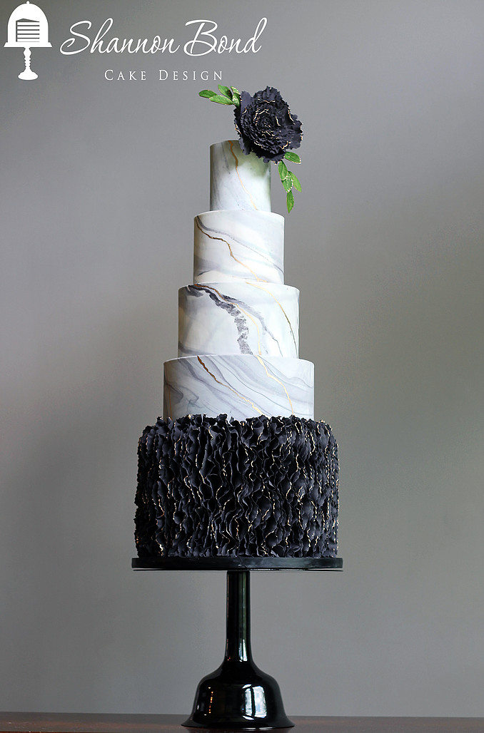 Gray marble with black ruffle wedding cake