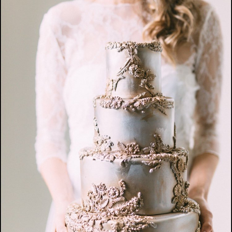 Gray with gold embellishment baroque wedding