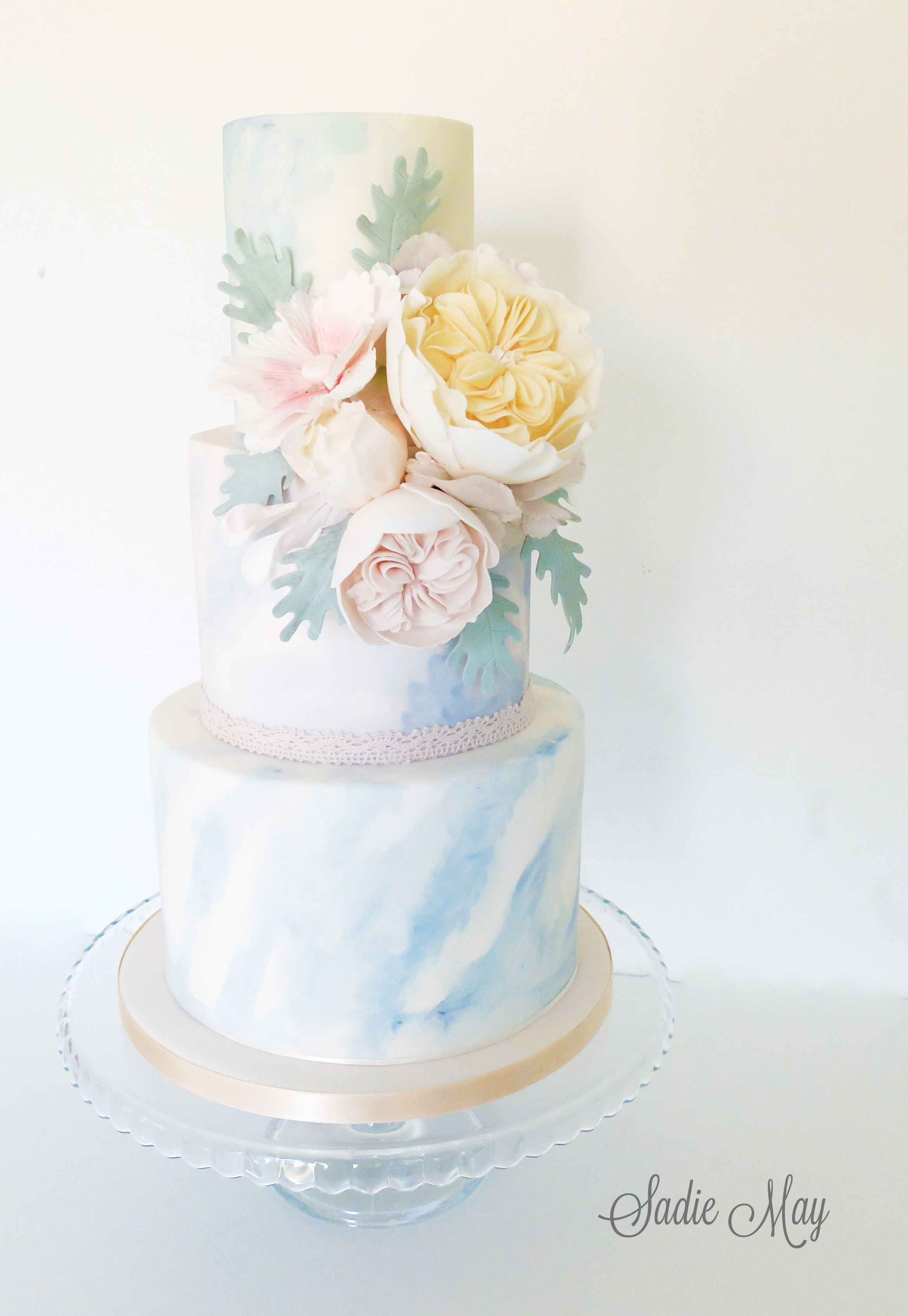 Watercolor wedding cake with sugar roses