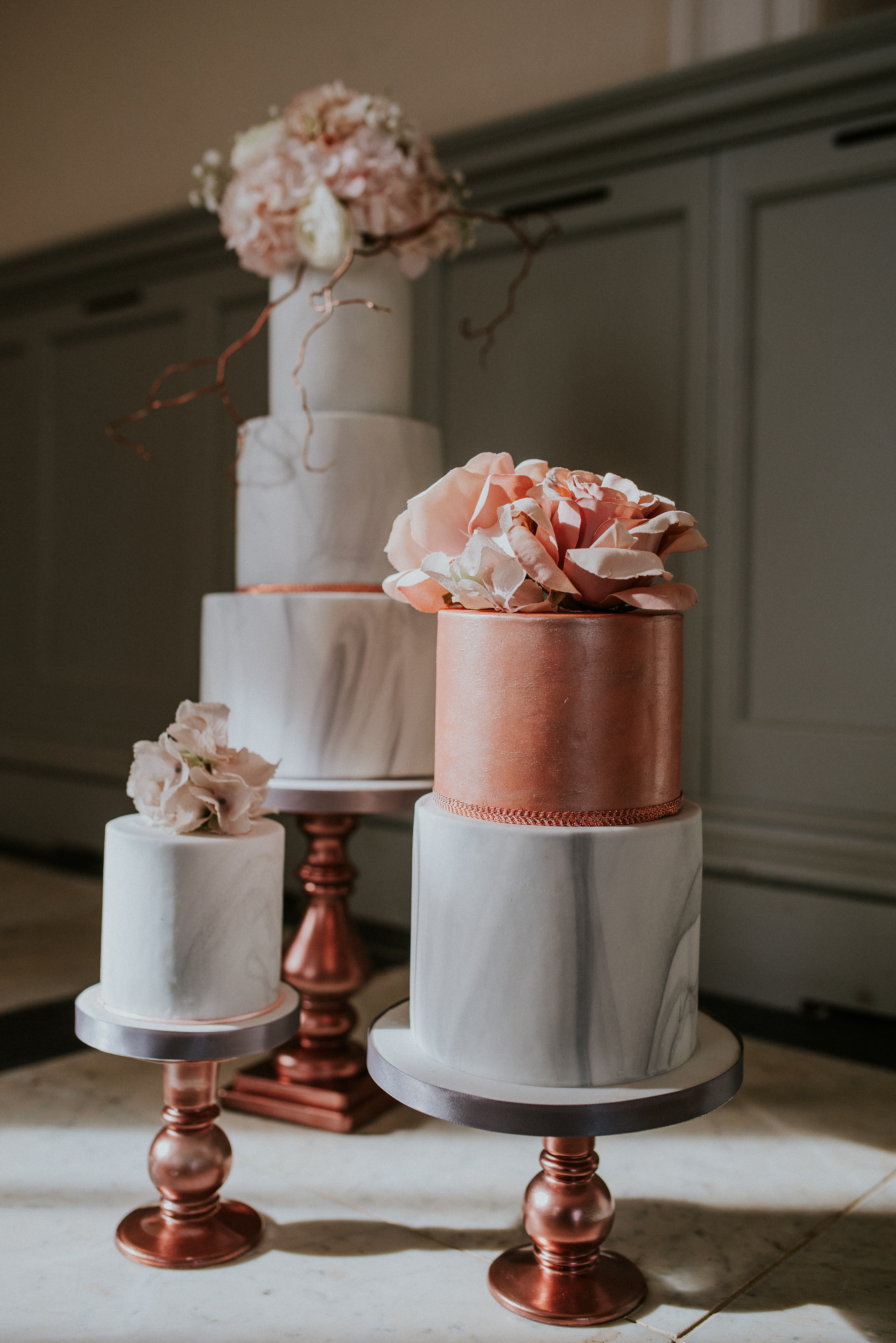 Copper and gray marble wedding cake