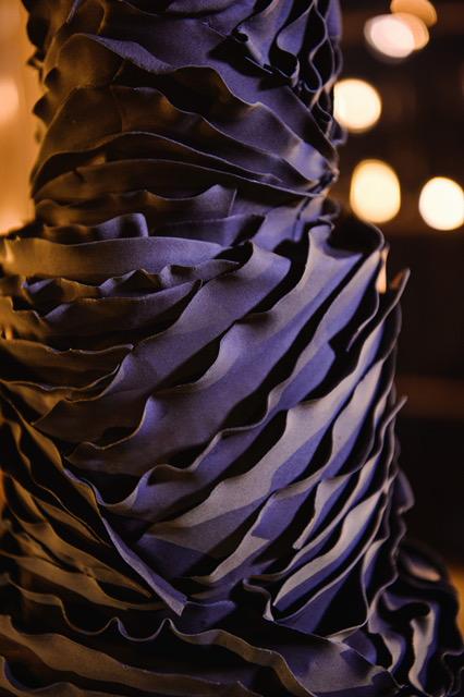 All black swirled textured wedding cake