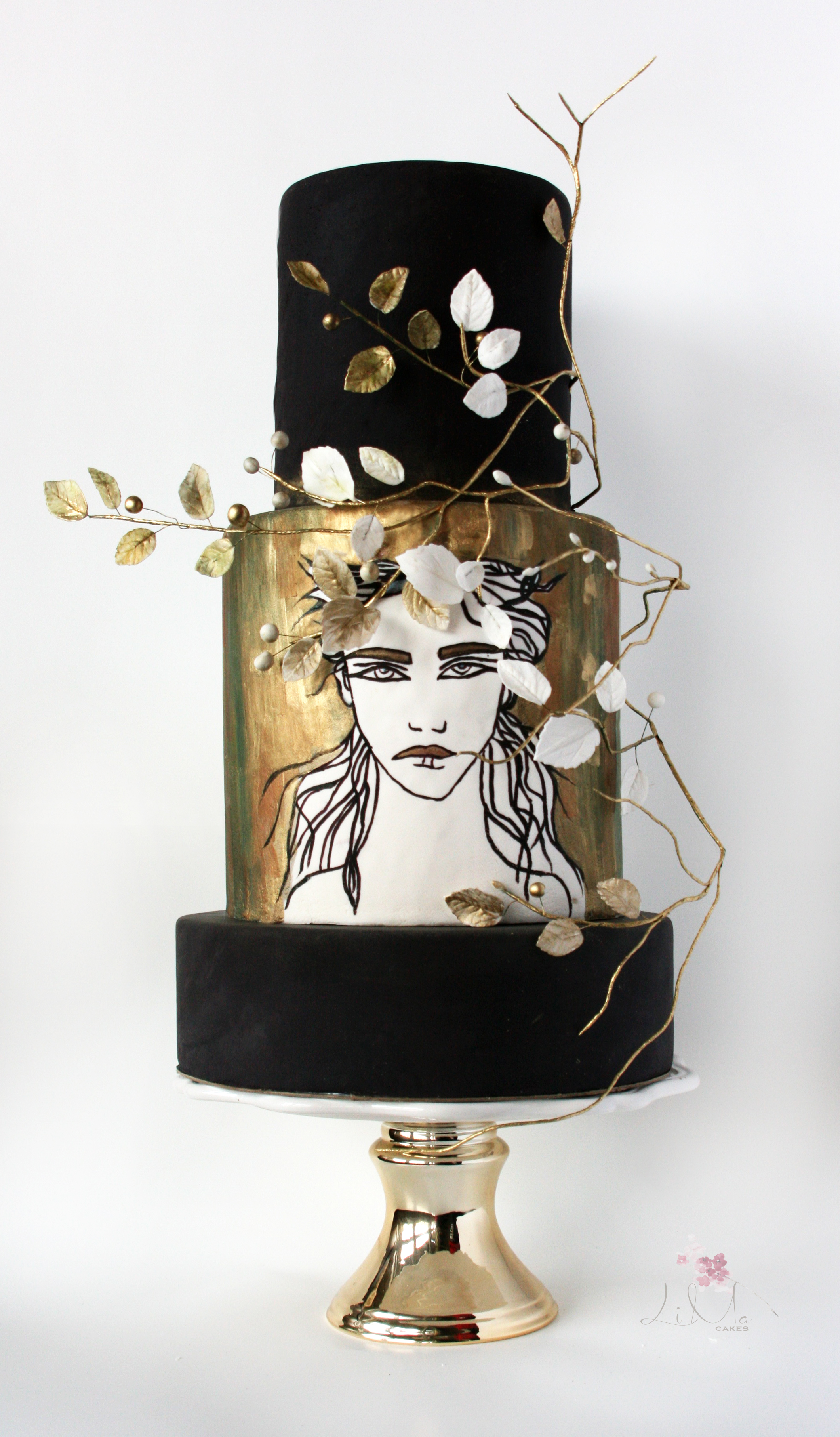 black and gold hand painted silhouette birthday