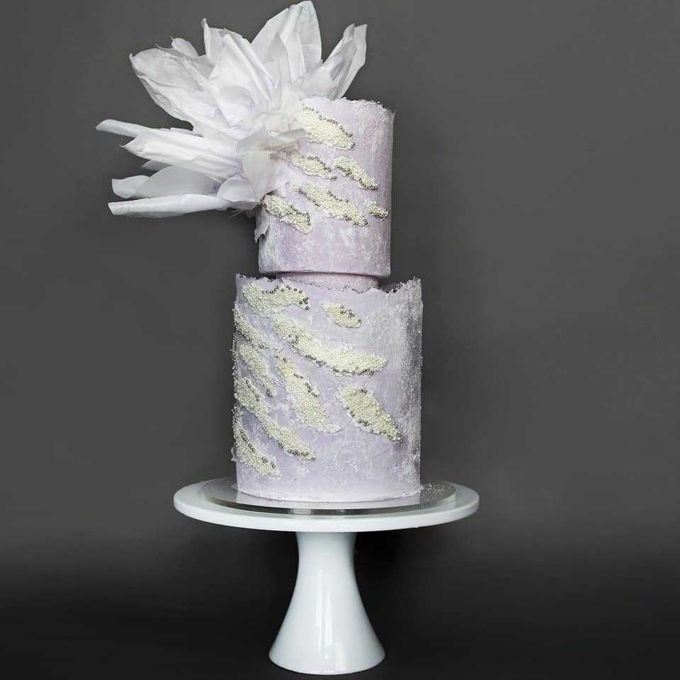 Lavender wedding cake with white texture
