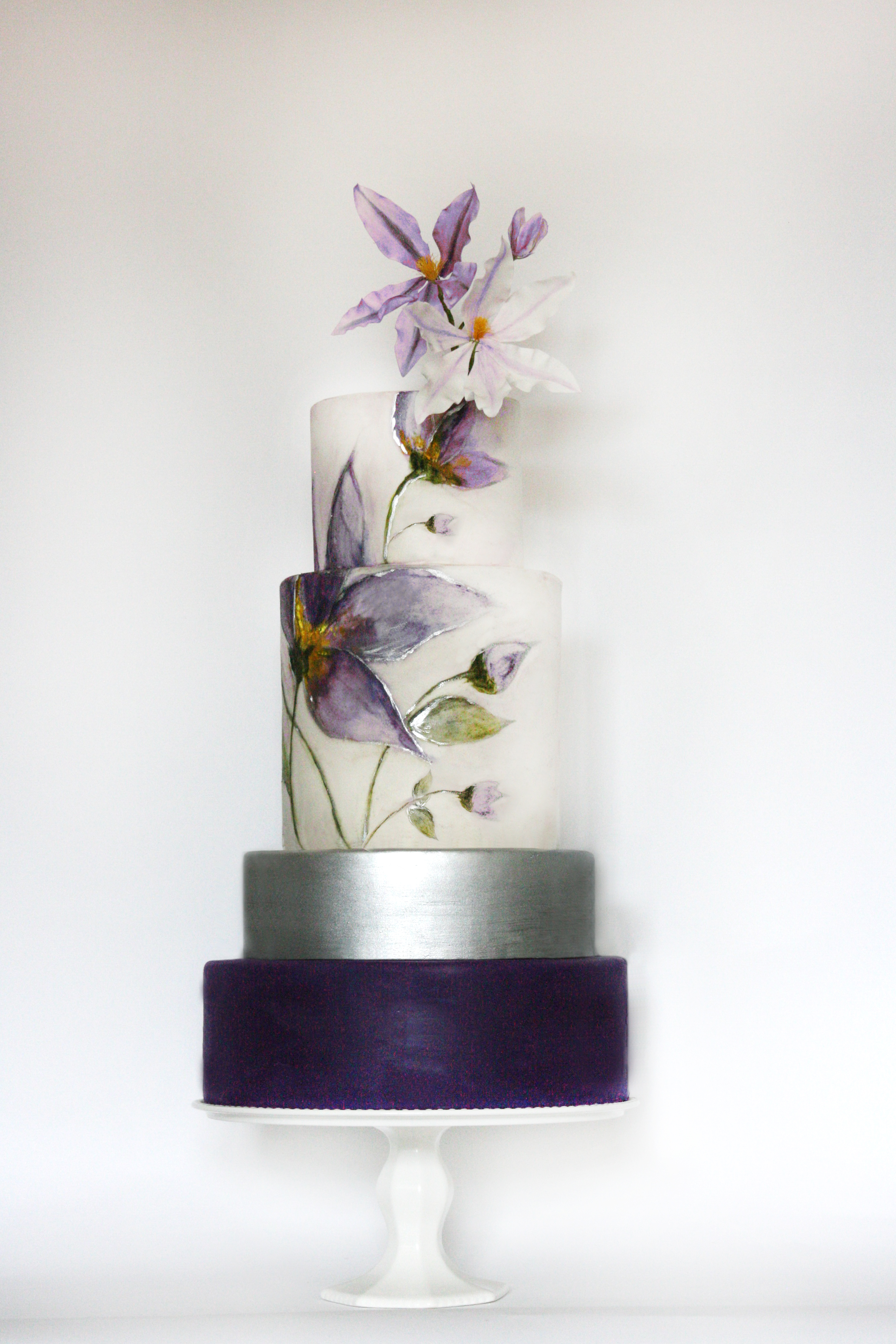 Purple and silver wedding with hand painted flower