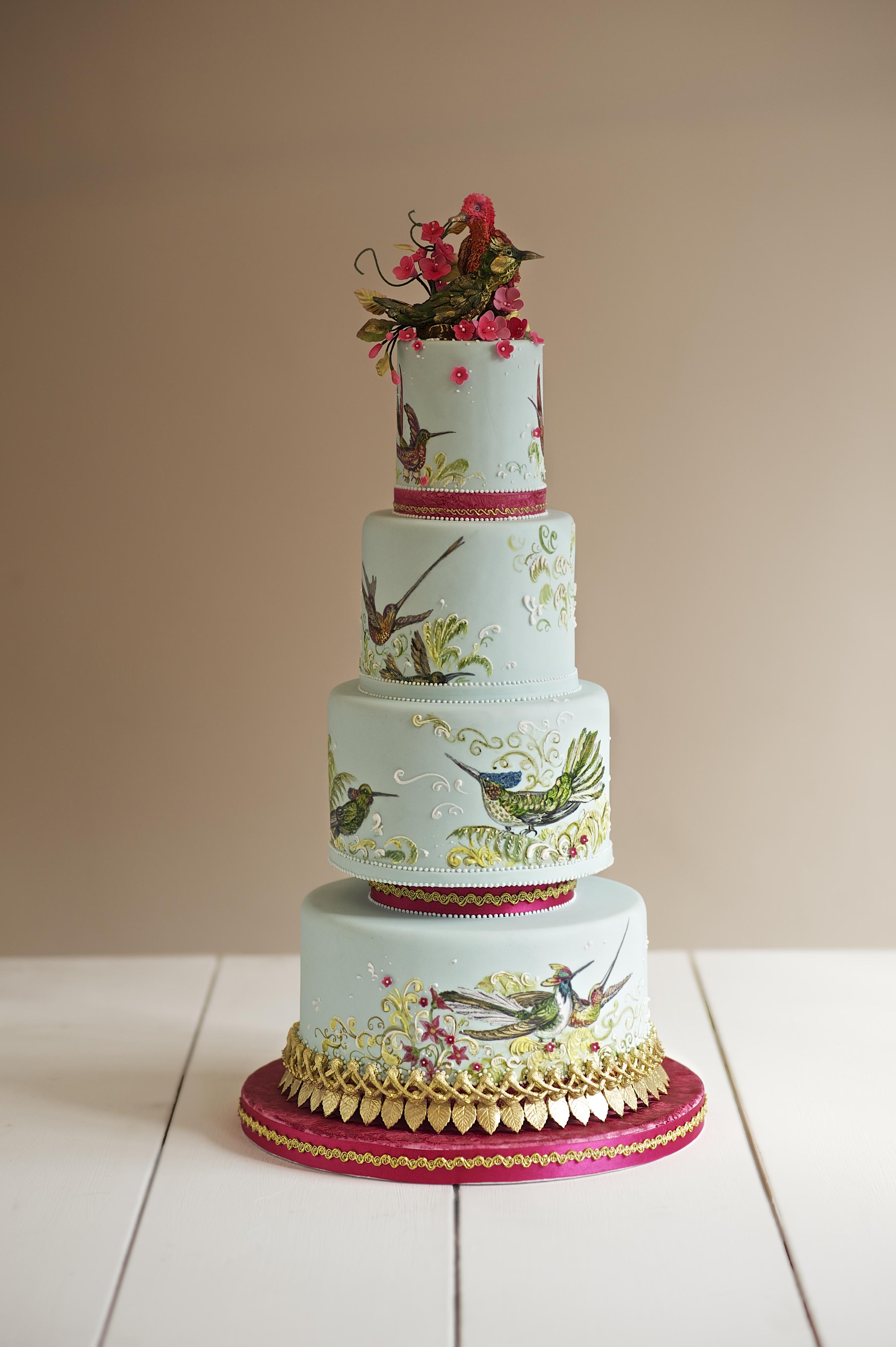 Handpainted bird green wedding cakeT