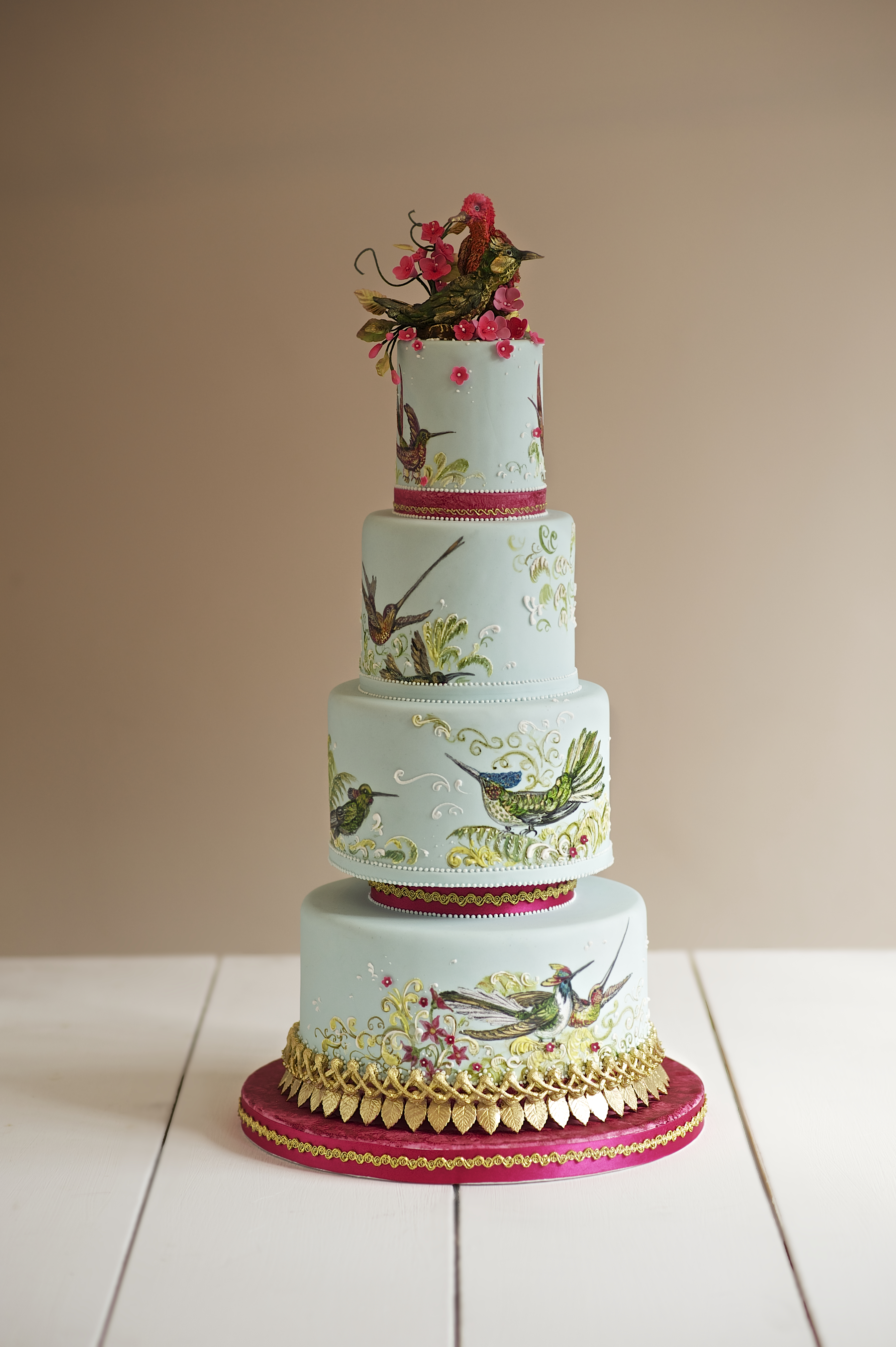 Pastel Green Handpainted bird wedding cakeT