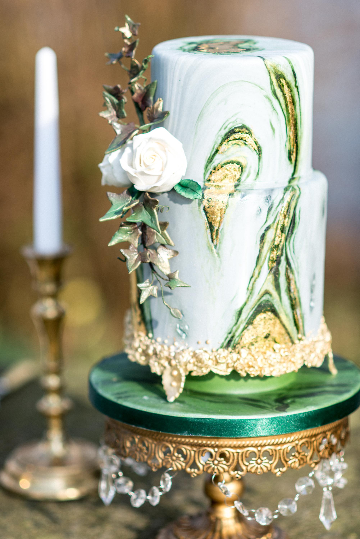 Pastel Green Marbled wedding cake