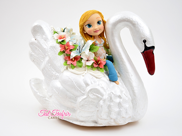 Sculpted girl on swan