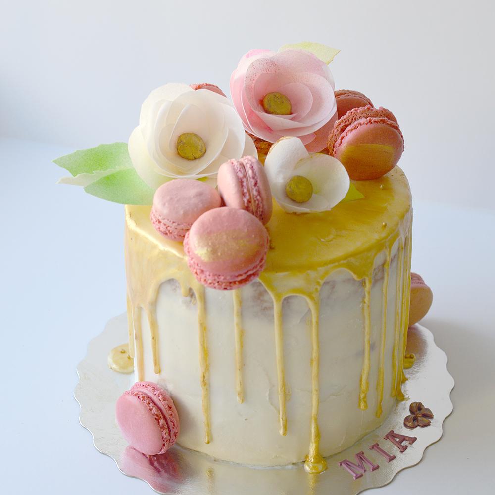 Yellow birthday drip cake