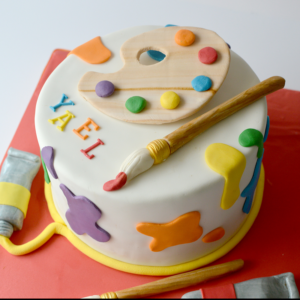 artists palette birthday cake