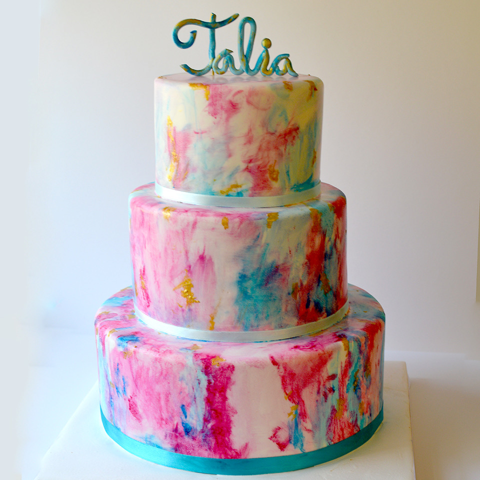 Pink and blue watercolor birthday girl cake