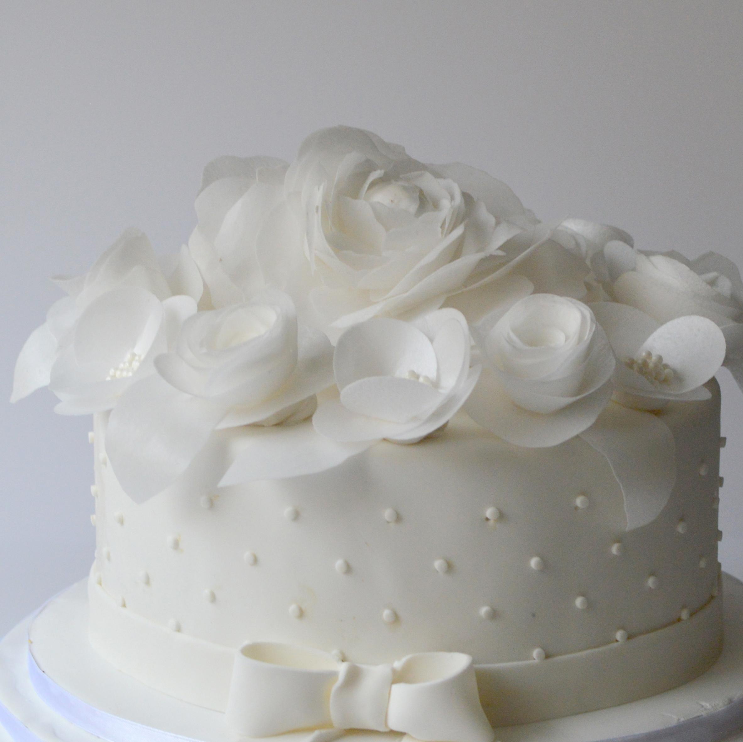 white sugar flowers
