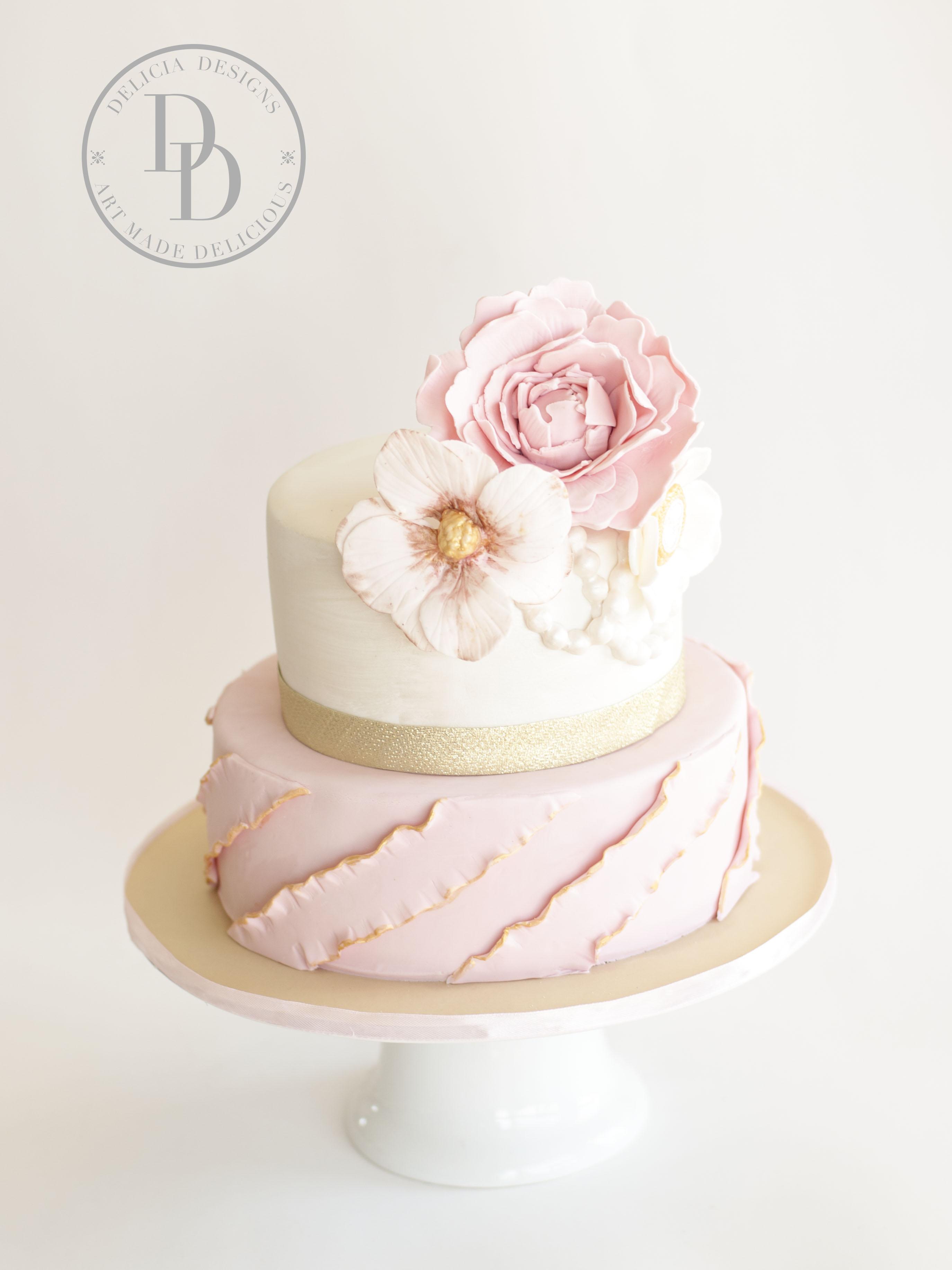 Pink and White ruffle birthday cake