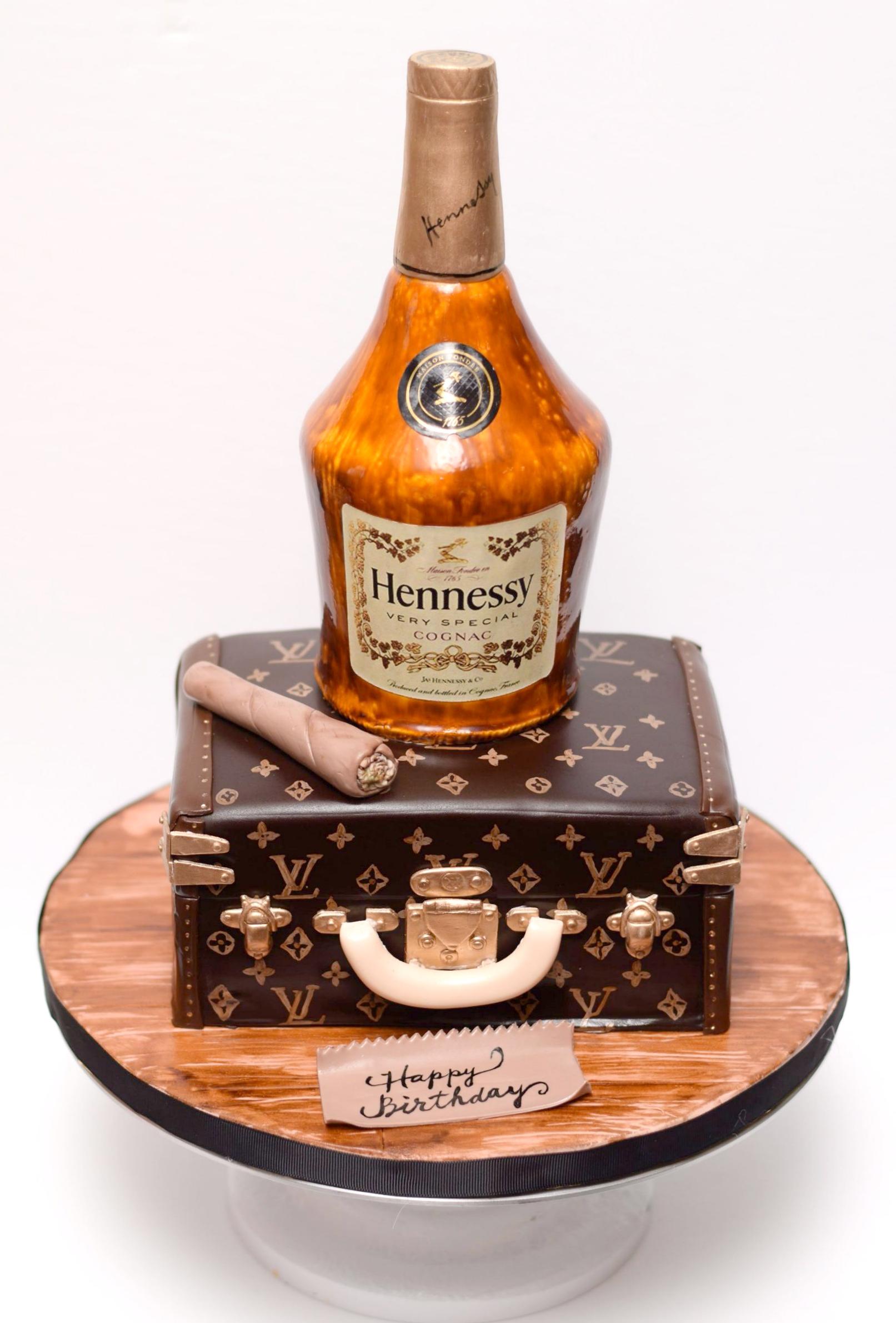 Sculpted Liquor bottle birthday cake