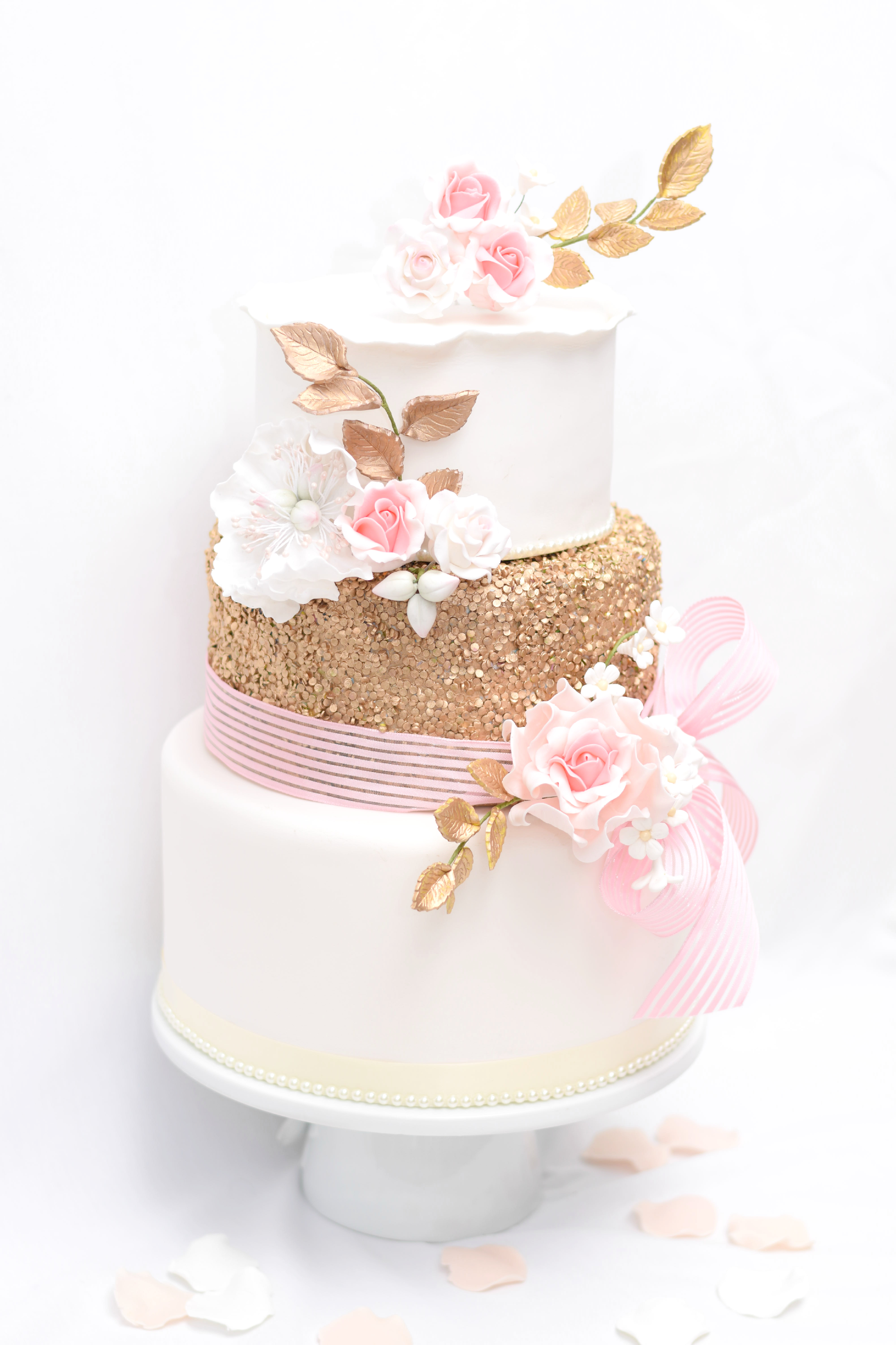 Blush pink and gold sparkle wedding cake