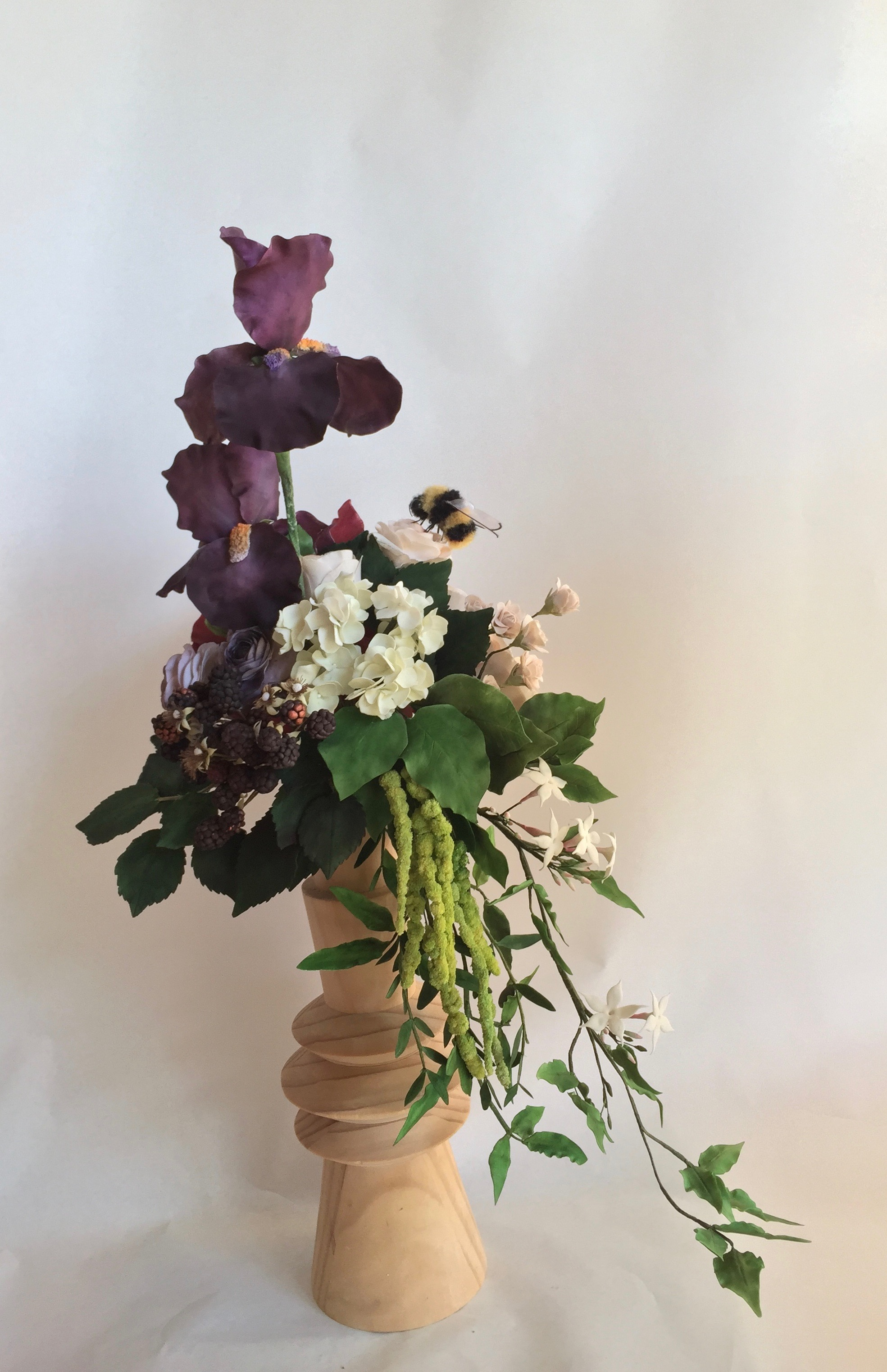 Purple sugar flower hydrangea bouquet