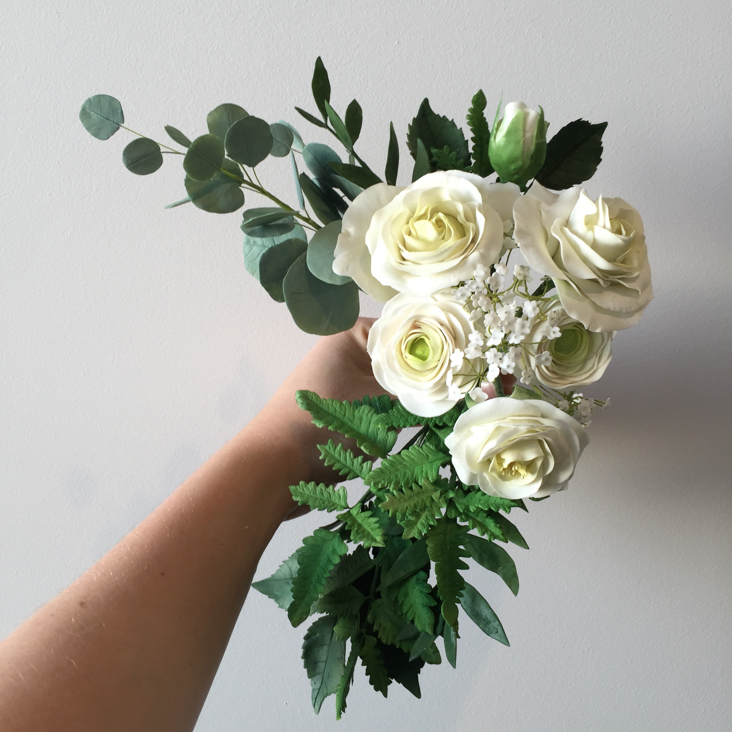 Sugar flower bouquet of white garden roses