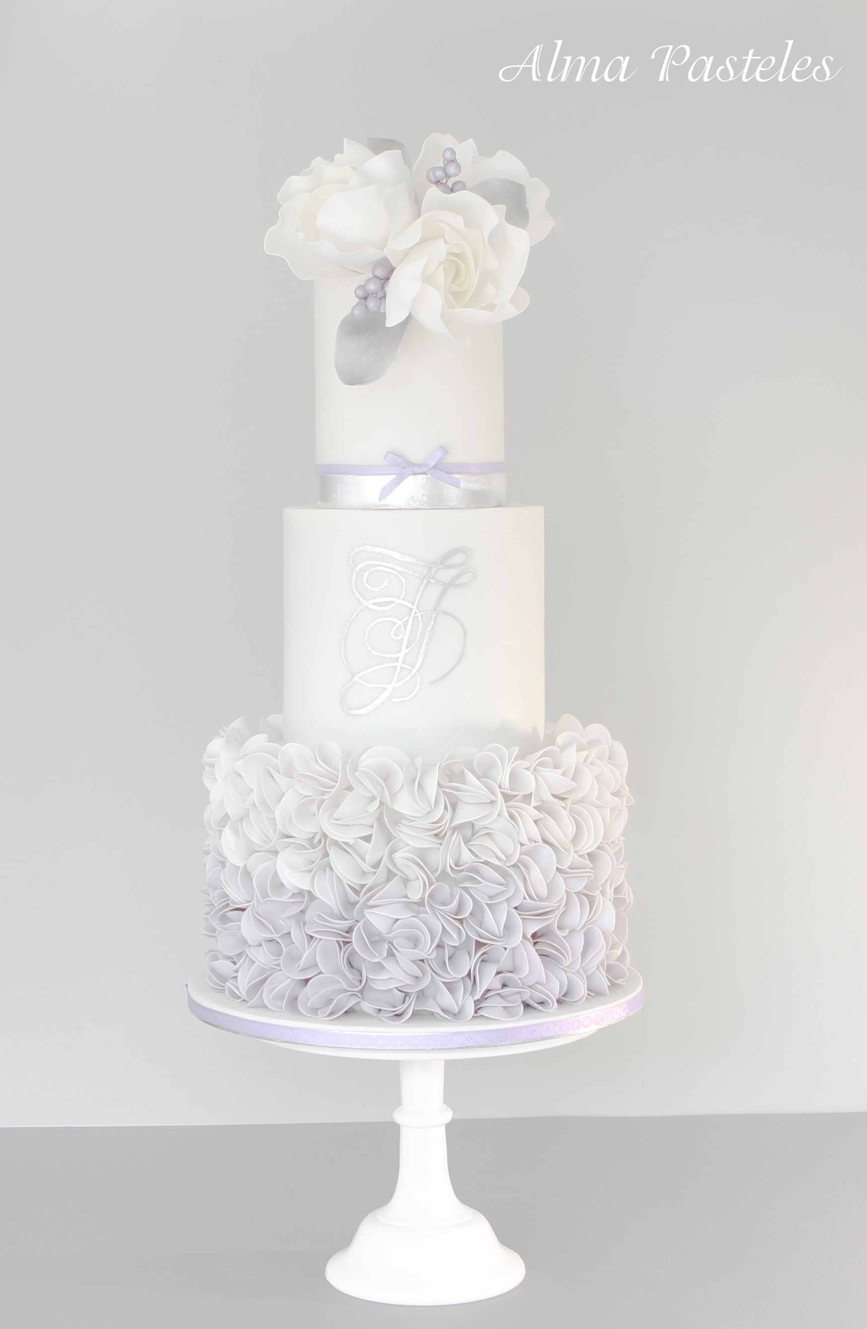 White and gray ombre ruffle wedding
