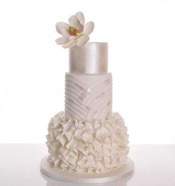 White and Ivory ruffle texture wedding cake