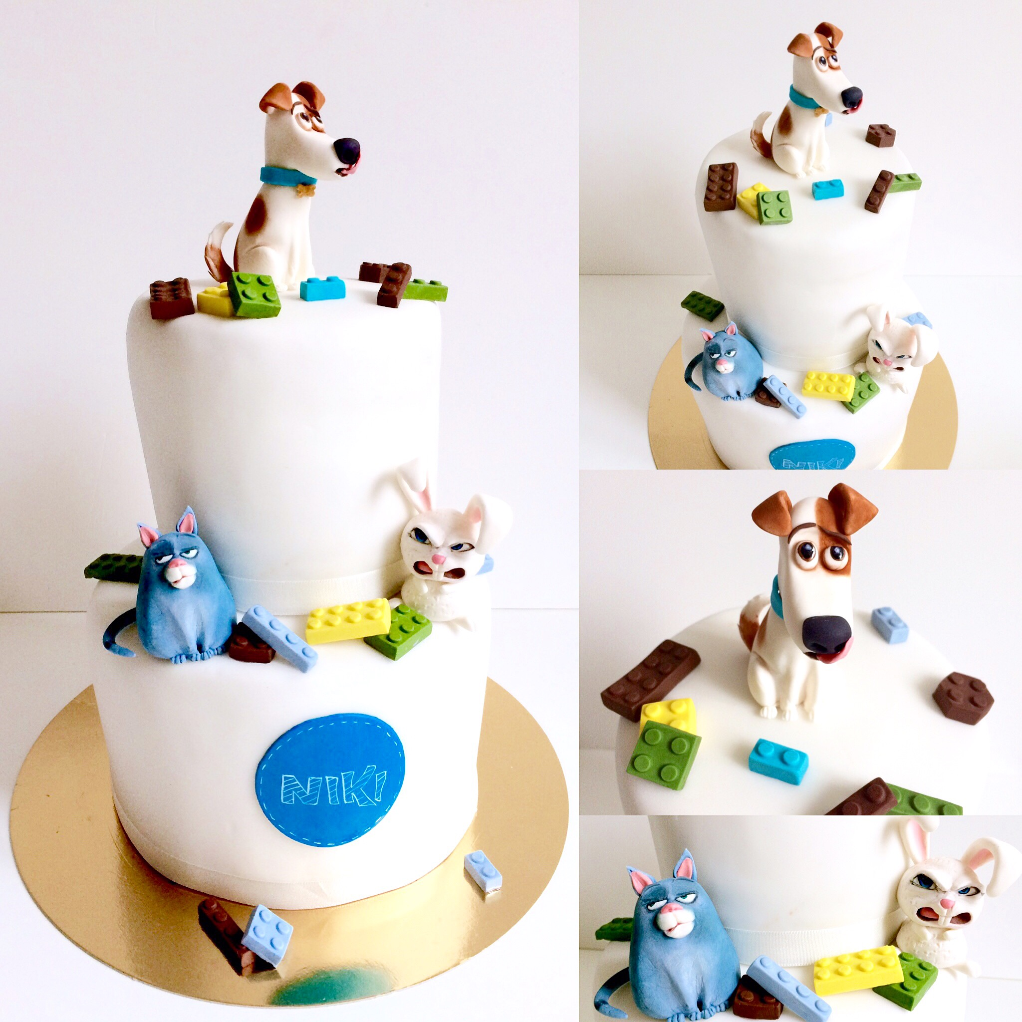 Puppy and cat birthday cake