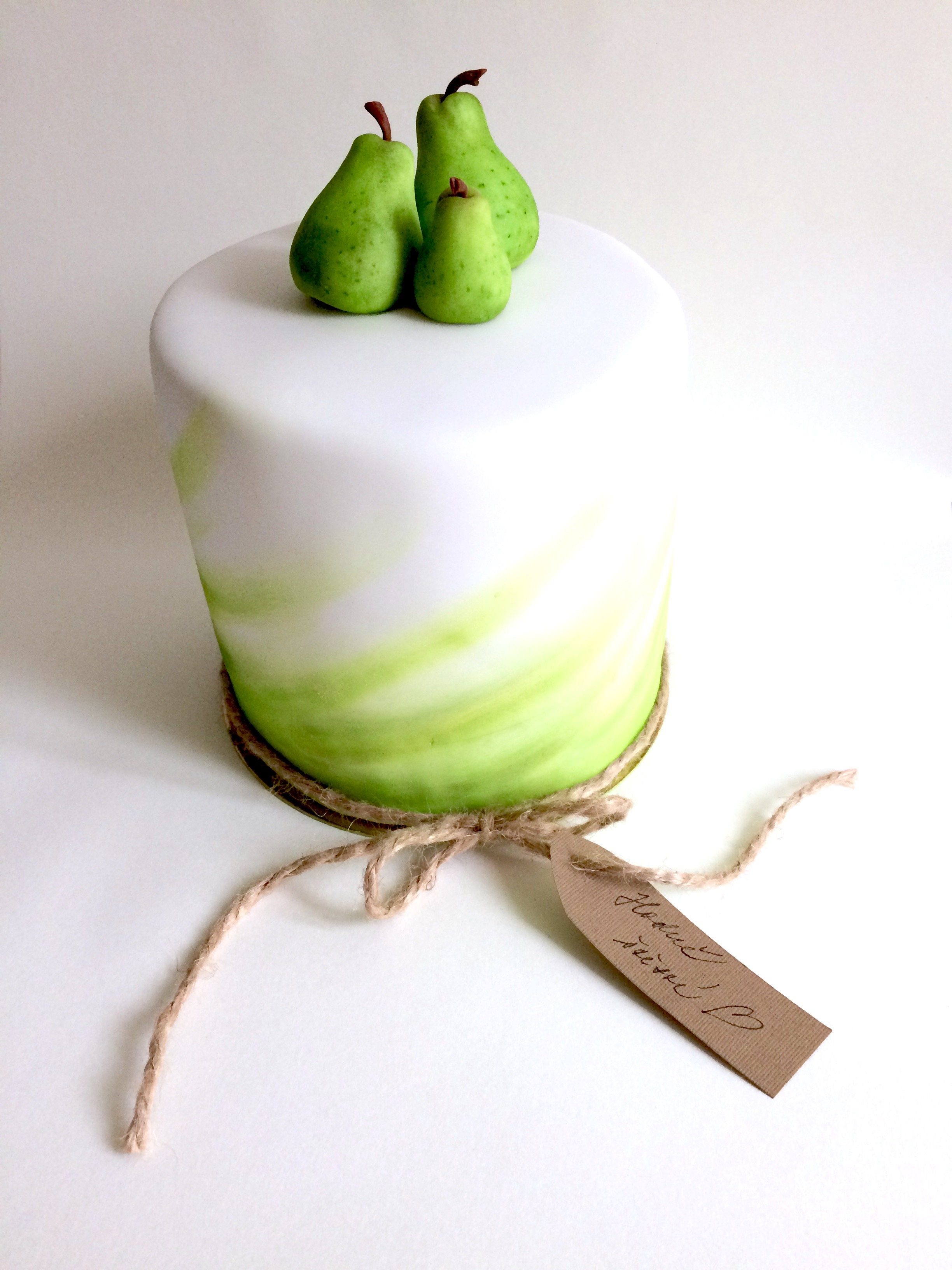 White cake with pear toppers