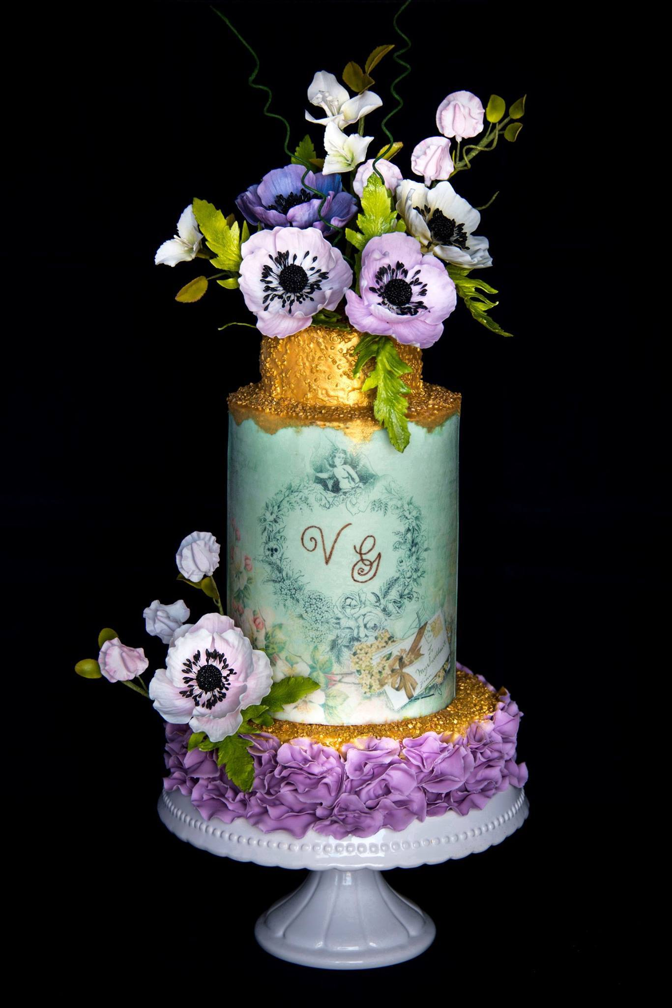 victorian sparkle wedding cake with sugar orchids