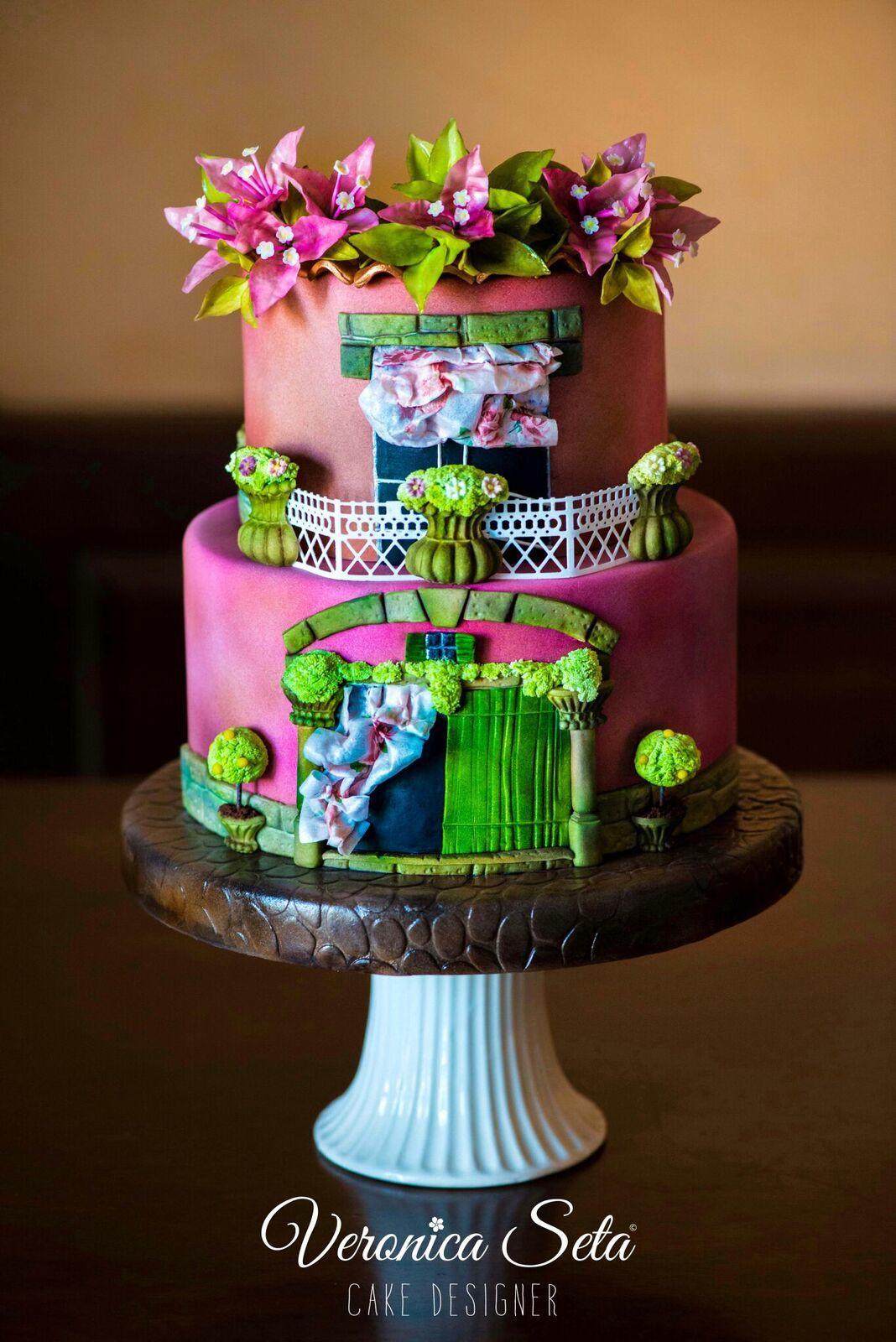 Pink and Green Parisian window wedding cake