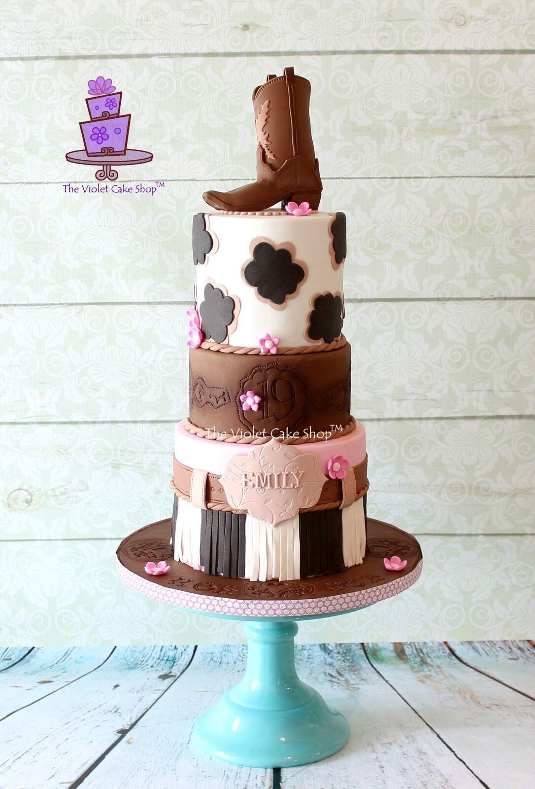 Cowboy boot birthday cake