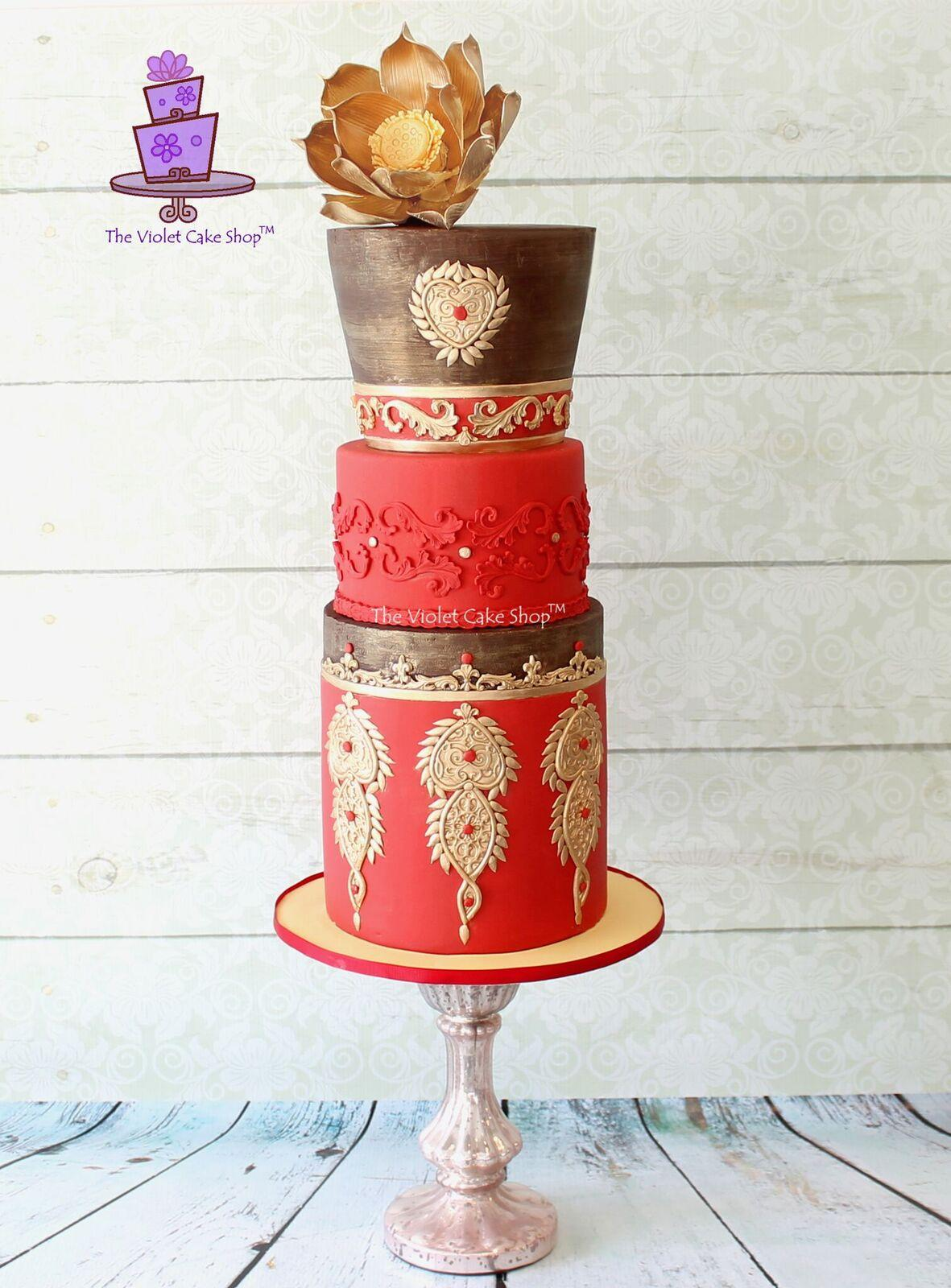 Brown and Red wedding with gold accents