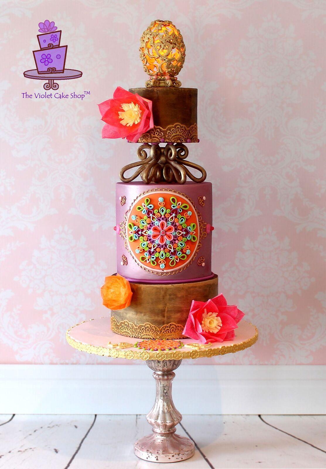 Golden Egg baroque styled cake