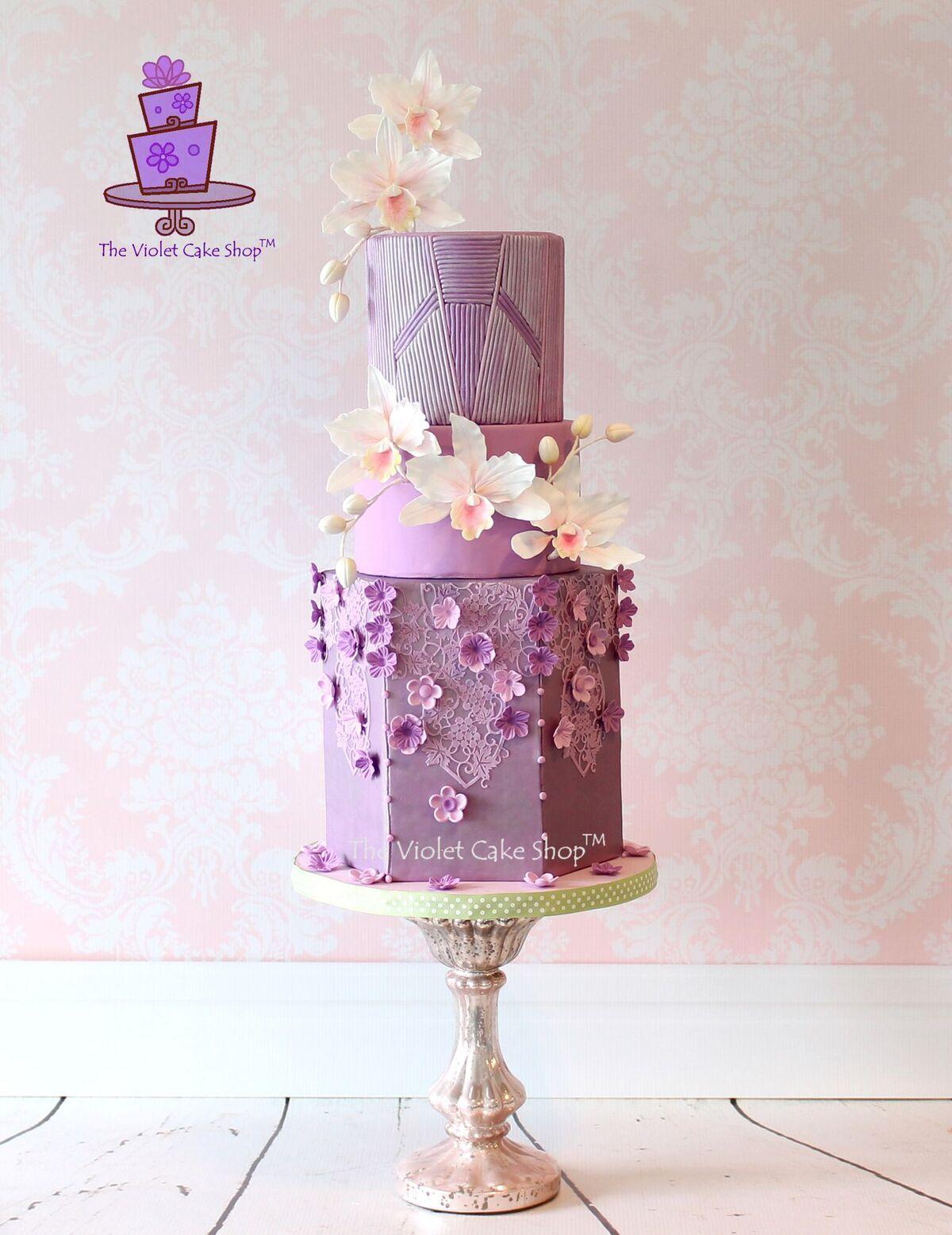 Orchid sugar flower purple wedding