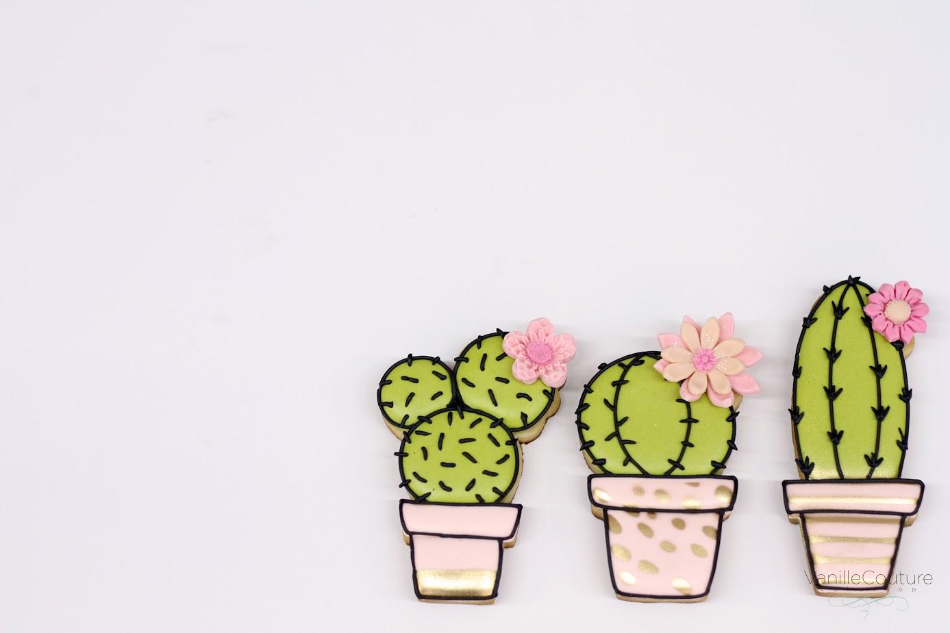 Bright Green fondant cactus cookies
