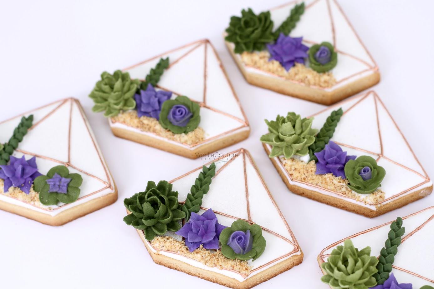 Succulent terrarium fondan cookies