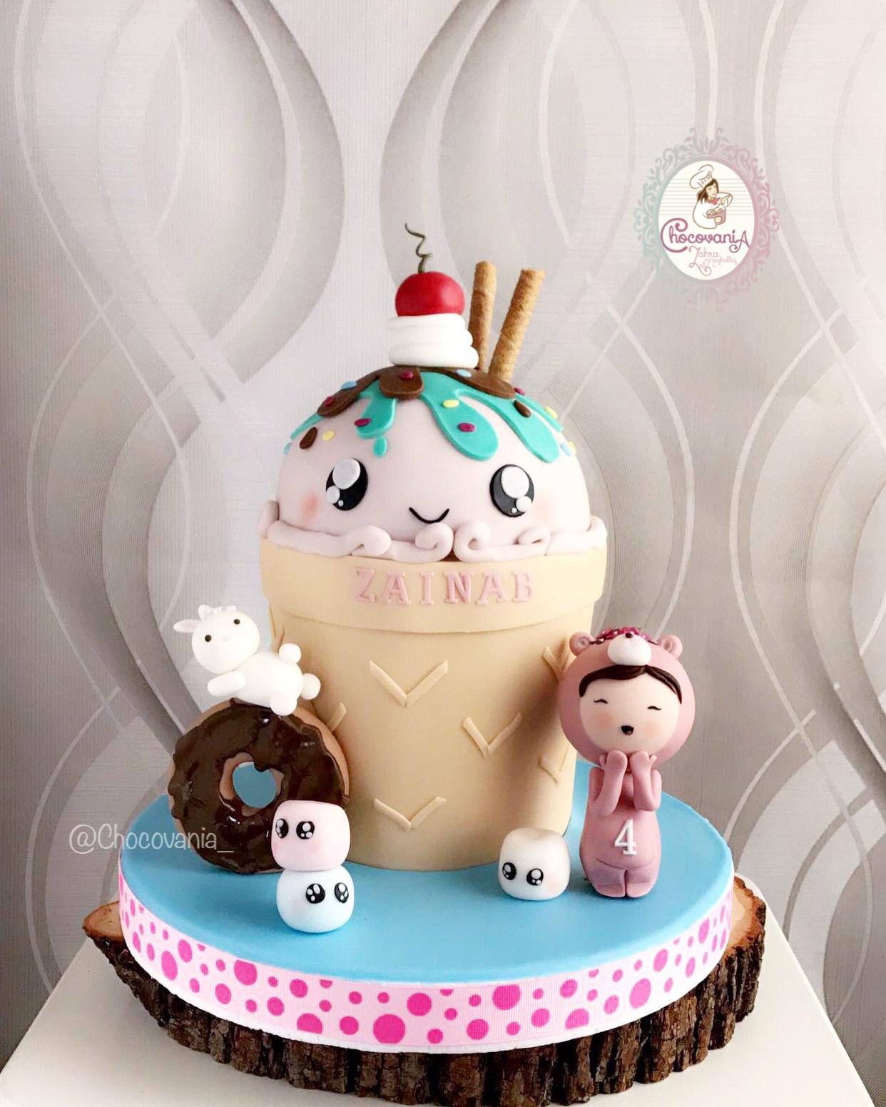 Ice Cream and sweets fondant birthday cake