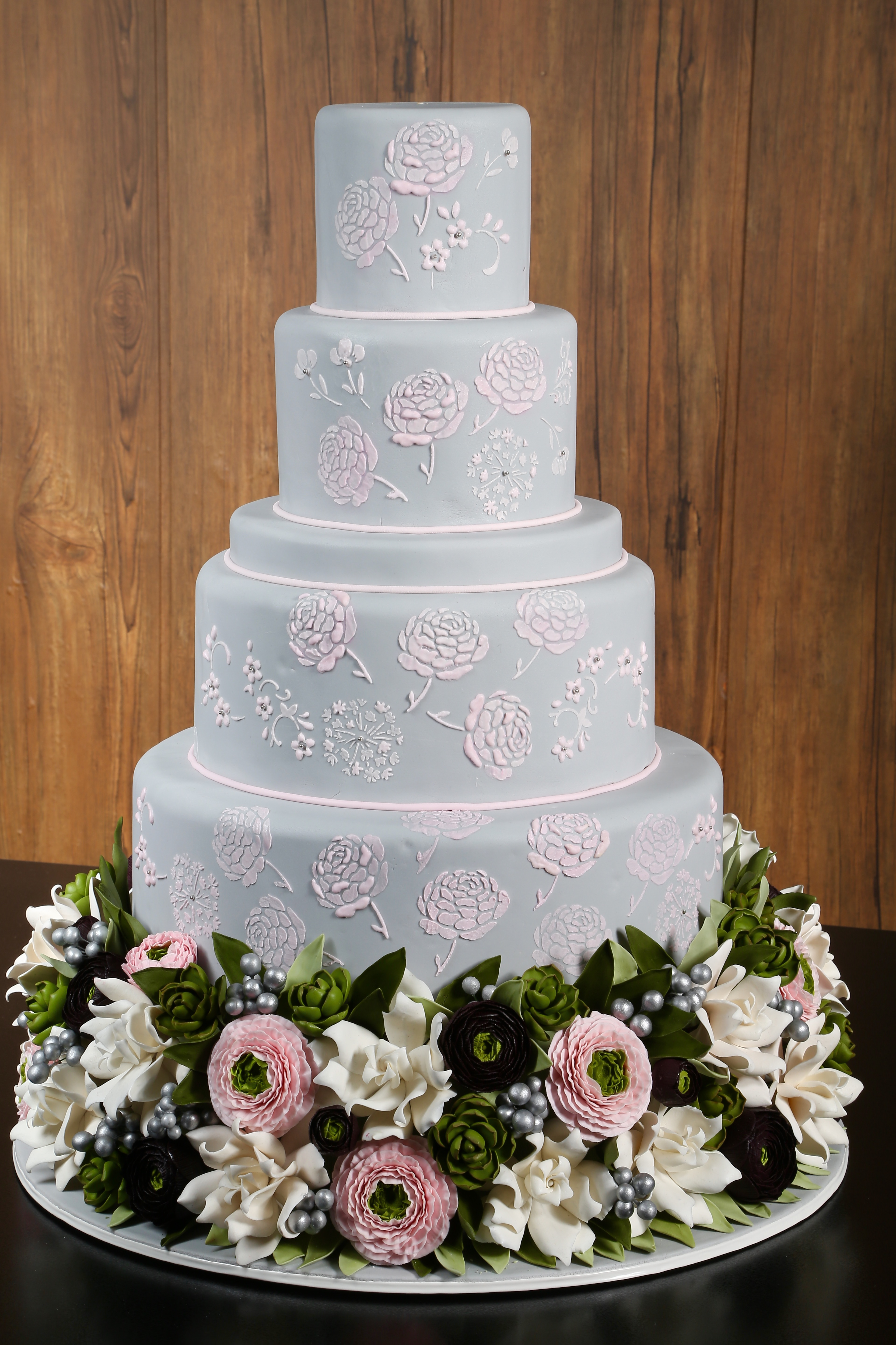 Baby blue wedding cake with Lace