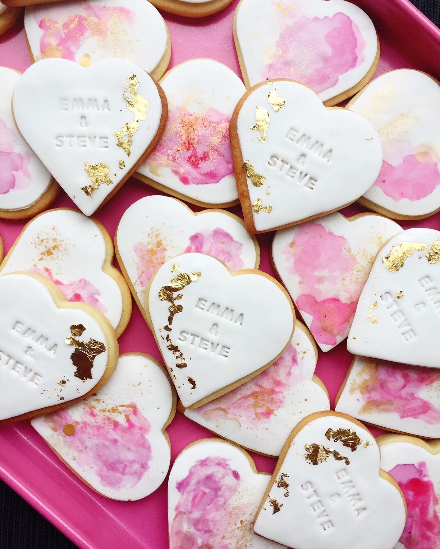 Heart Fondant Wedding Cookies