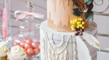 Gold and white dreamcatcher bohemian wedding cake