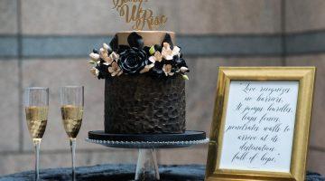 Black wedding with sugar flowers
