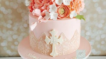 Light Pink with Sugar flowers confirmation cake