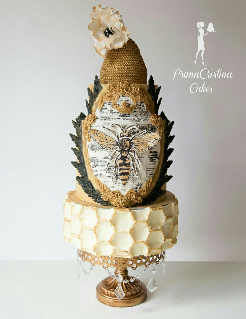 Ivory and Gold Honey Bee Cake