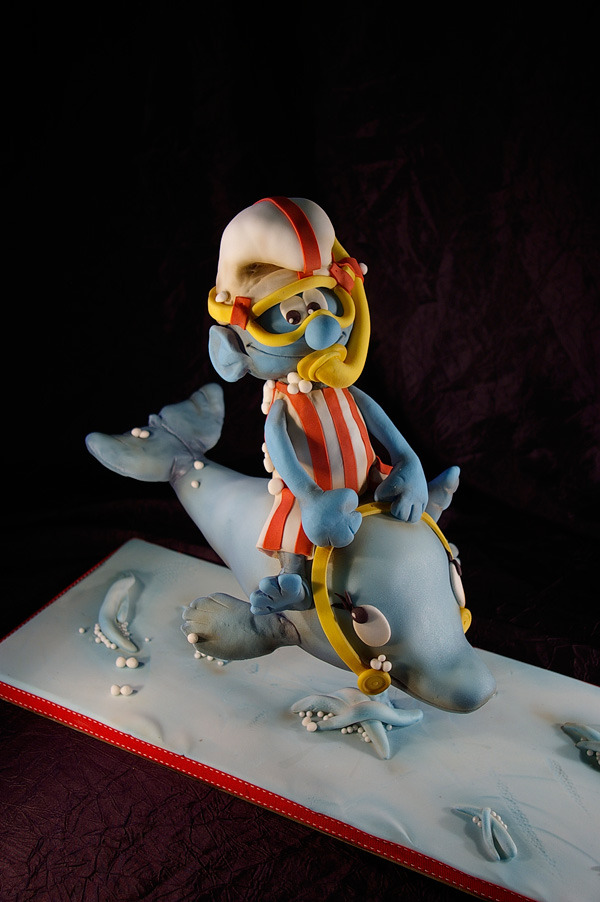 Sculpted Smurf on Whale Cake
